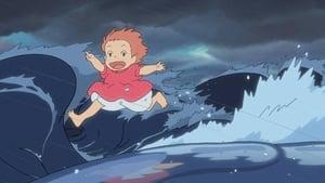 Ponyo a tengerparti sziklán háttérkép